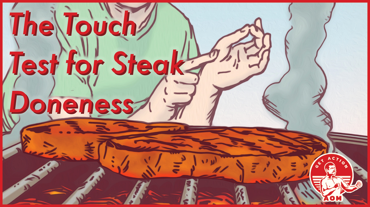 The touch test for steak doneness.
