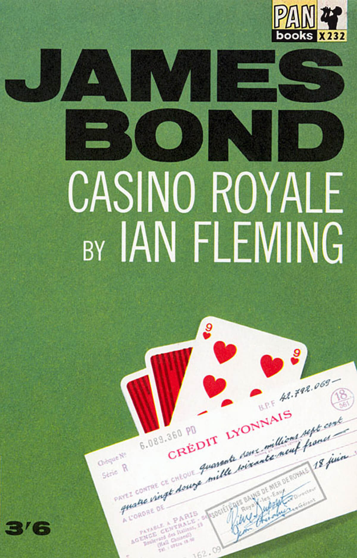 Book cover of James bond with cheque and cards on it.