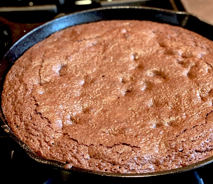 Making of brownie in a pan.