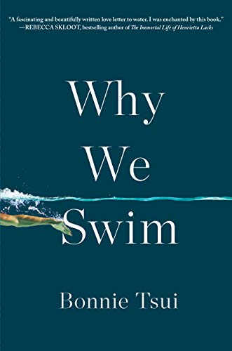 Book cover of why we swim and person hand in the water.