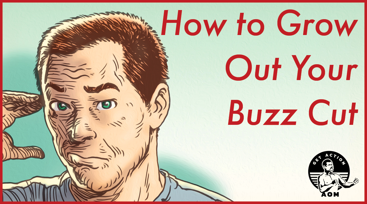 A worried man thinking how to grow out buzz cut.