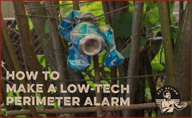 A tin can hang for perimeter alarm.