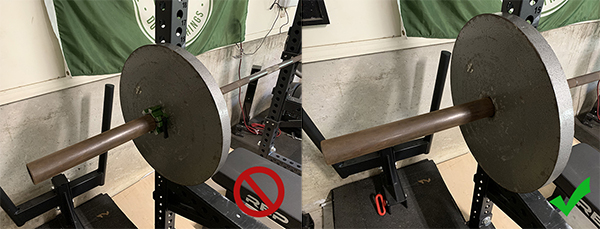 Barbell with weight collar with a no sign on left barbell without weight collar with check sign on right.