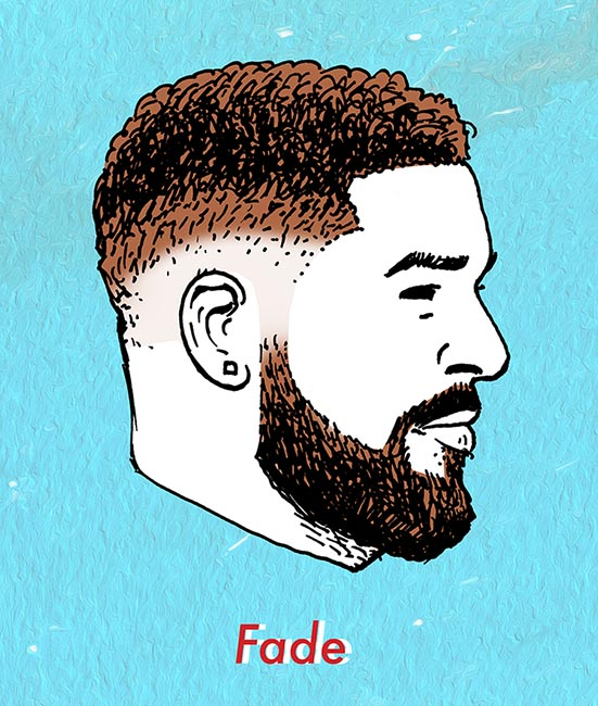 illustration of fade haircut for men.