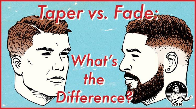 illustration taper vs. fade haircut for men.