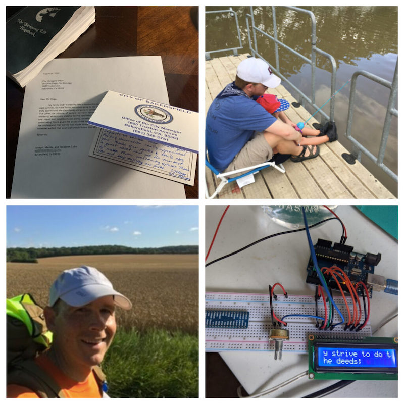 letter, man fishing on dock, man hiking, arduino project.