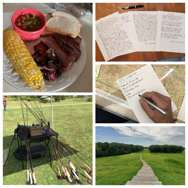 smoked brisket, collection of letters, fishing poles.