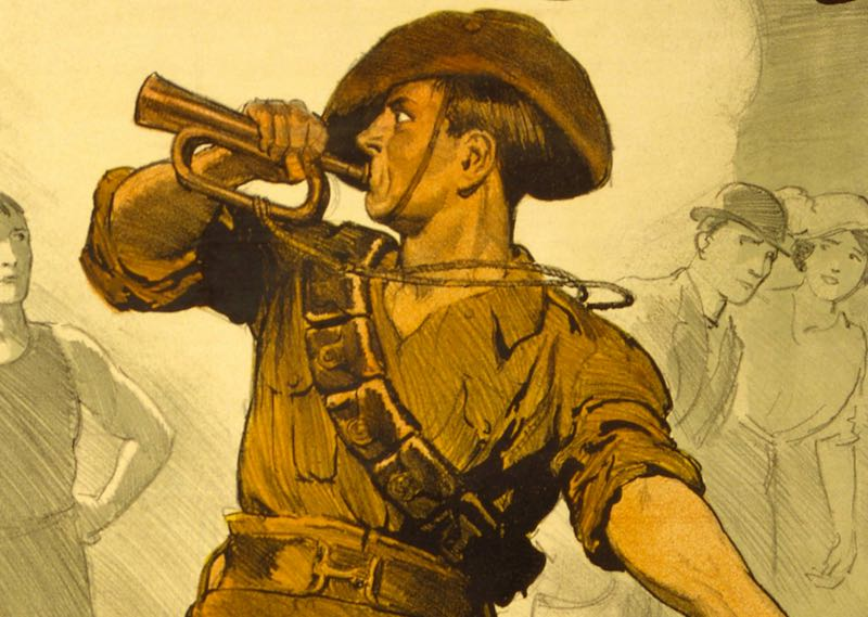 old illustration of soldier sounding a bugle.