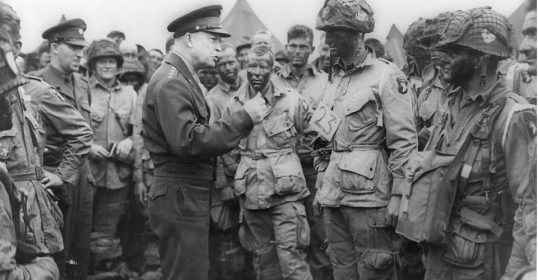 dwight eisenhower during wwii talking to troops.