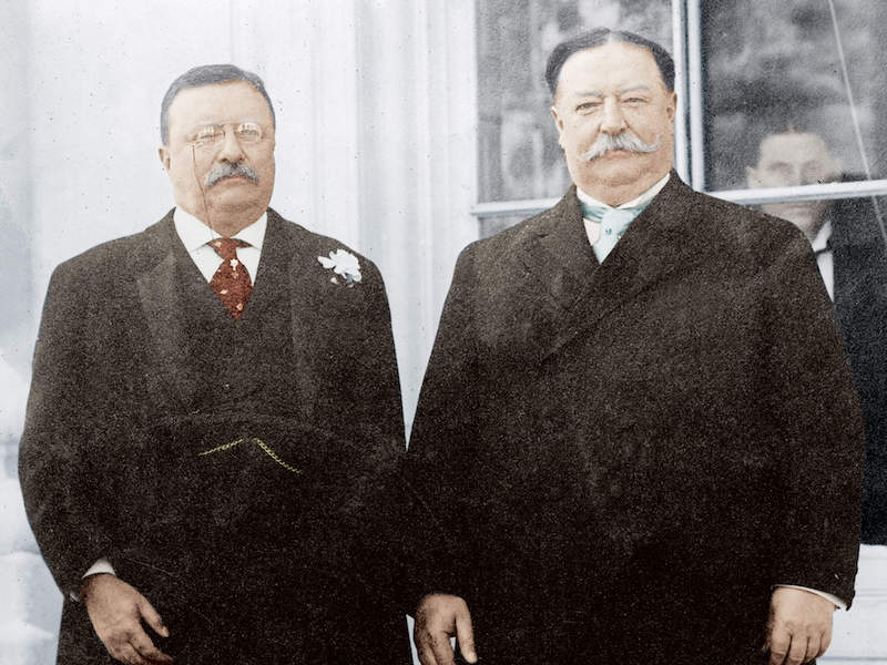 theodore roosevelt and william howard taft colorized photo.