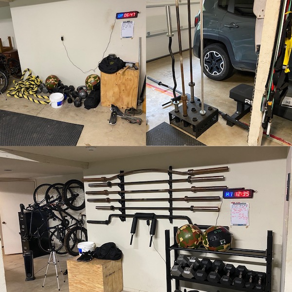before and after of dumbell and barbell storage in a garage gym.