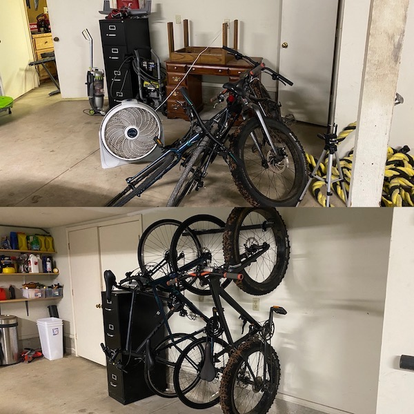 before and after of bike storage in a garage.