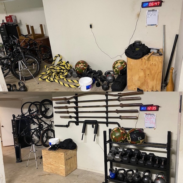 before and after of organized garage gym area.
