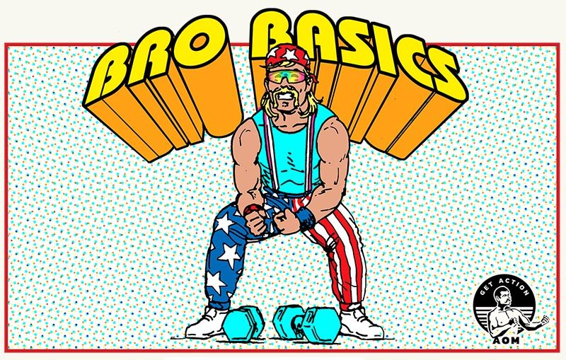 """illustration of man flexing in USA flag pants with """"bro basics"""" title."""