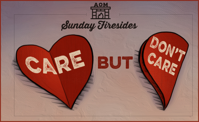 "illustration of folded paper hearts with ""care but don't care"" title."