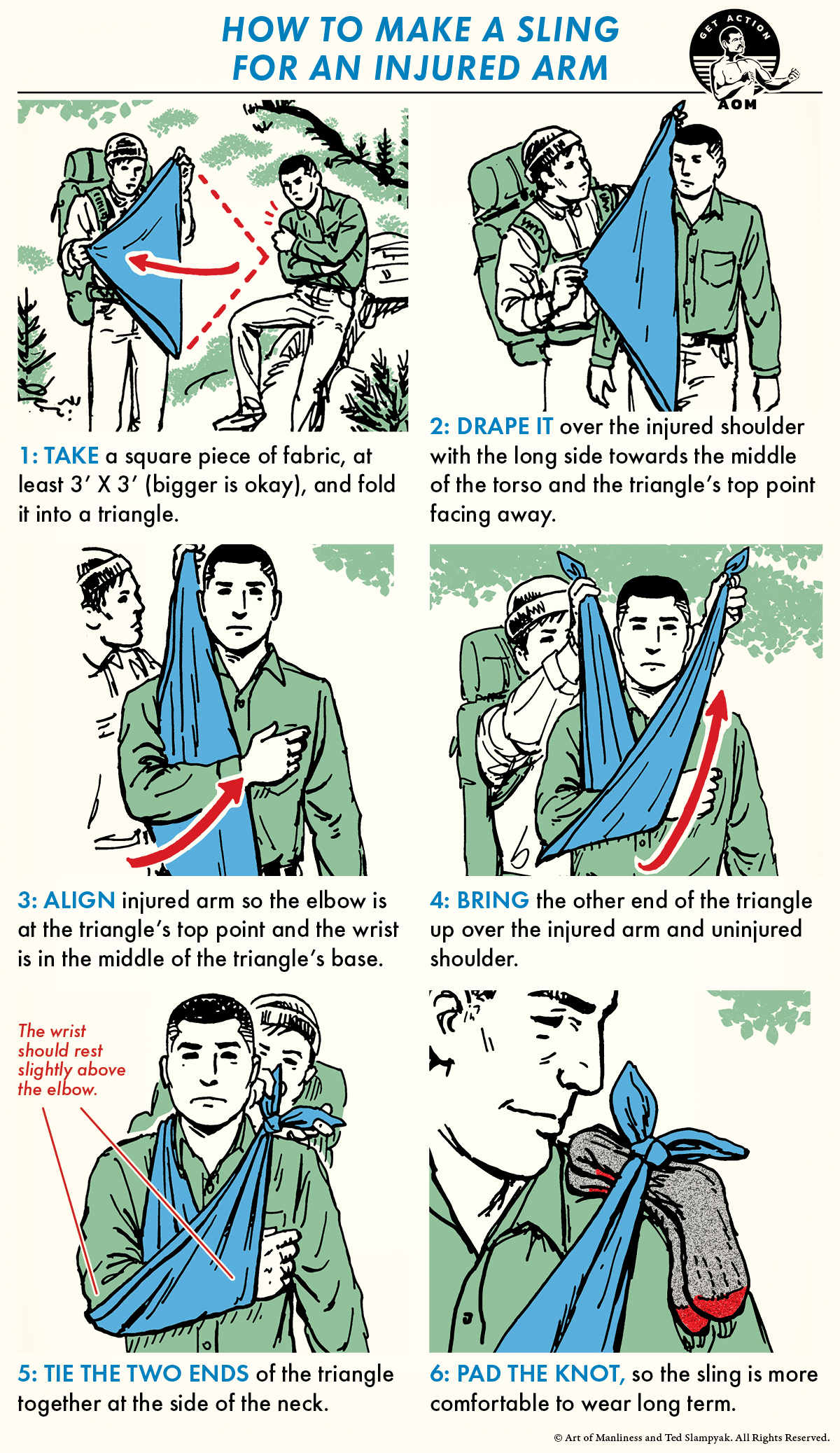 illustrated how-to guide feating man making sling for injured friend.