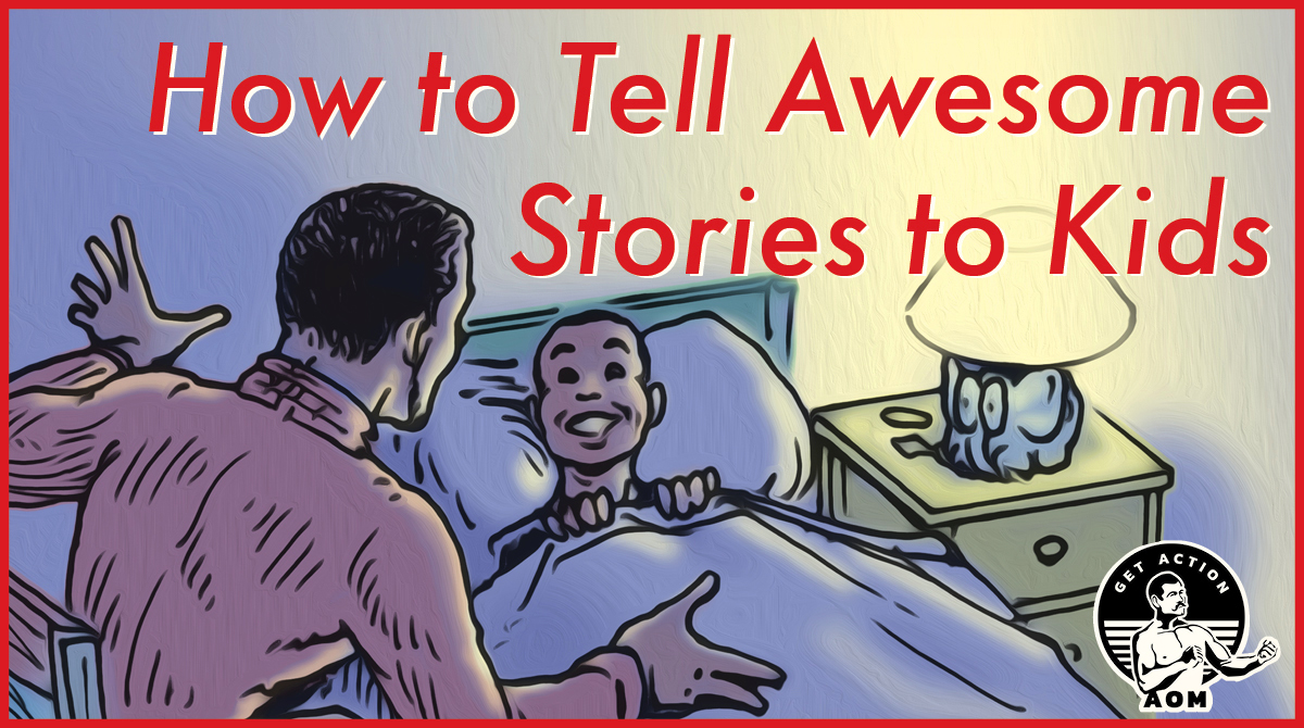illustration of dad telling story to excited son in bed.