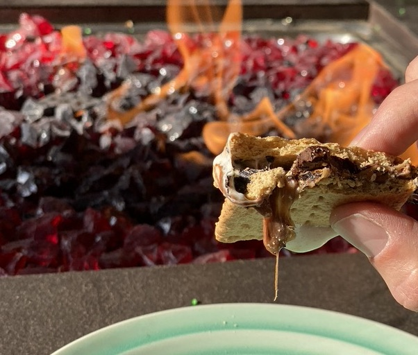 close up of a smore with caramel candy.