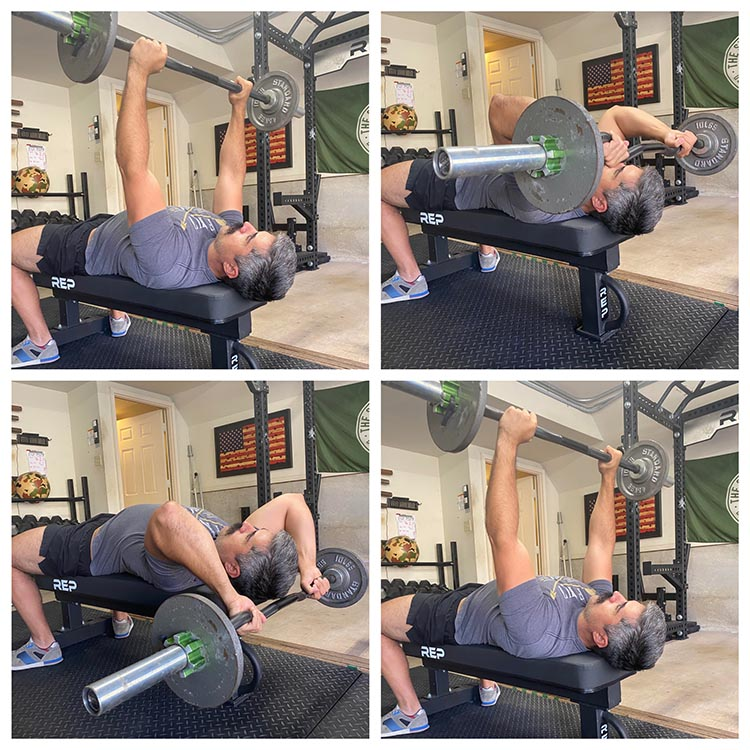 Man demonstrating how to do lying tricep extension