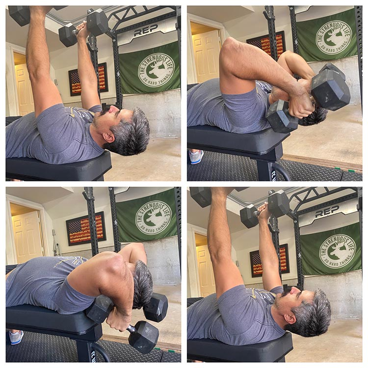 Man demonstrating how to do rolling dumbbell extensions