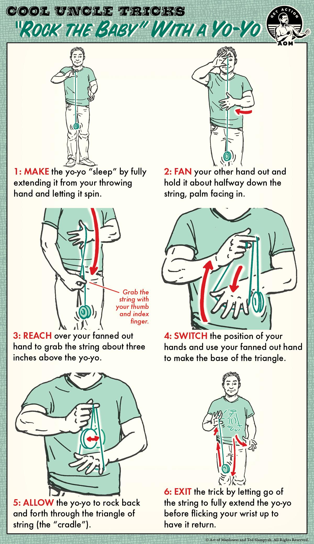 rock the baby yo yo trick step by step guide illustration.