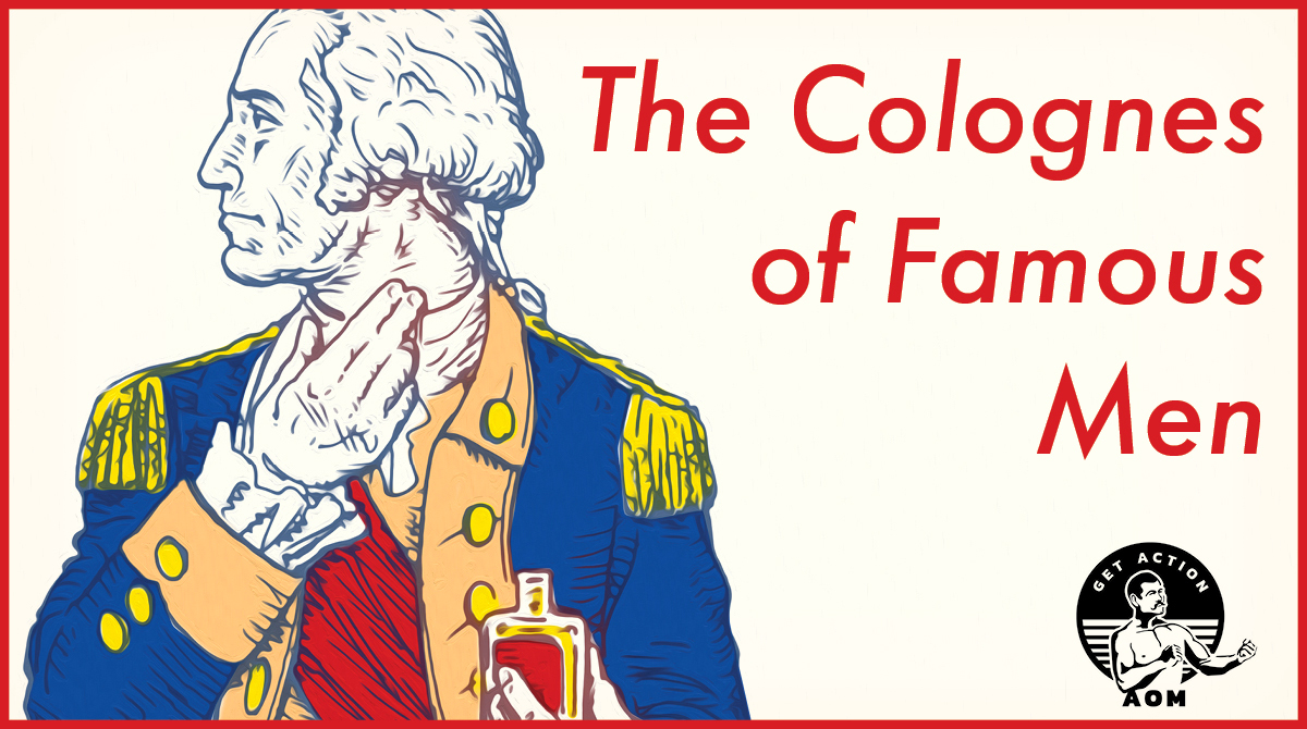 George Washington dabbing cologne on neck illustration.