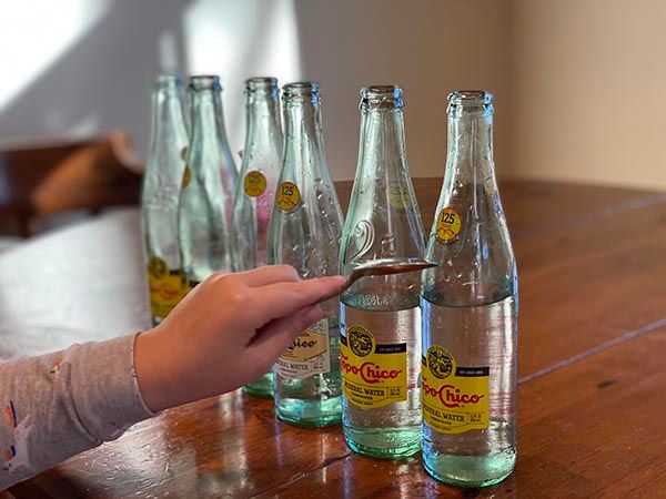 glass bottle xylophone with topochico bottles.