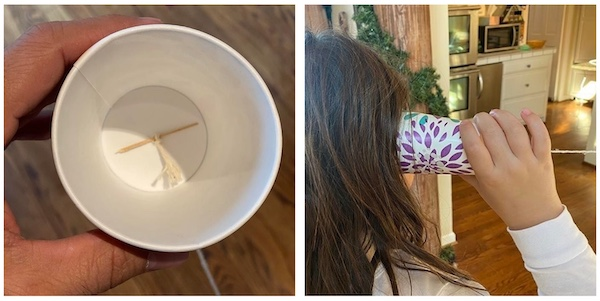 paper cup phone game with kids.
