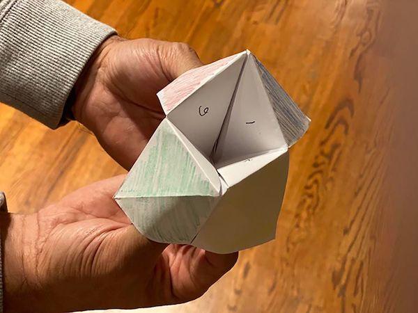 origami fortune teller.