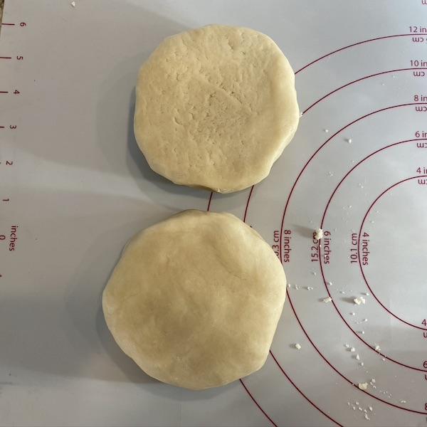 pie dough discs for refrigerating.