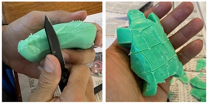 soap carving in the shape of a turtle.