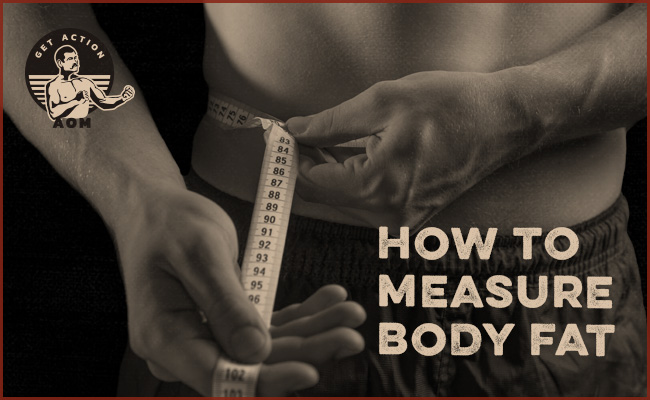 man measuring waist with tape measure.