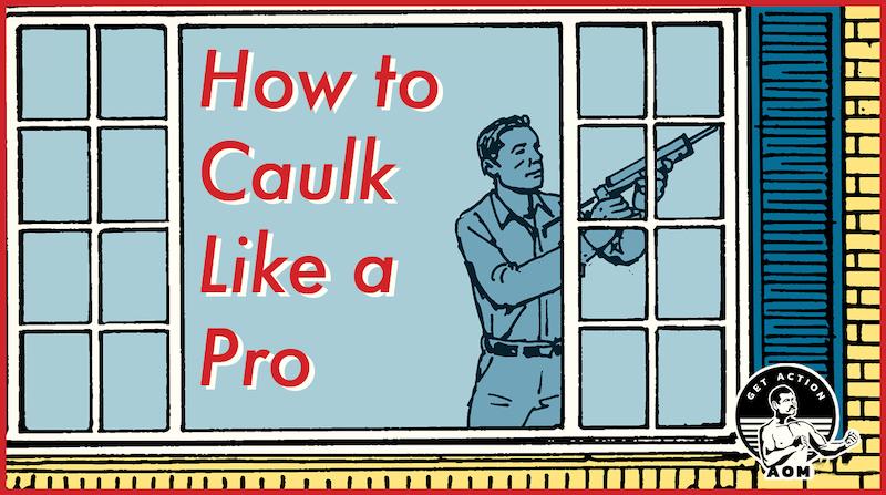 illustration of man caulking window.