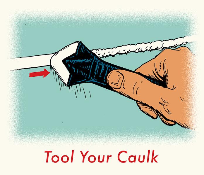 illustration of smoothing caulk with tool